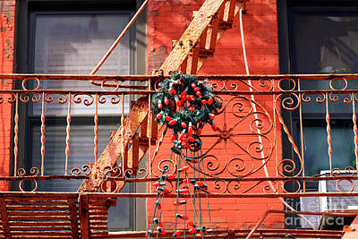Photograph - Christmas Lights On The Little Italy Fire Escape by John Rizzuto