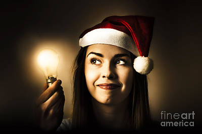 Eve Photograph - Christmas Lights Woman With Bright Idea by Jorgo Photography - Wall Art Gallery
