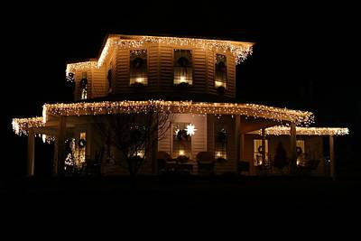 Photograph - Christmas Lit House by Kathryn Meyer