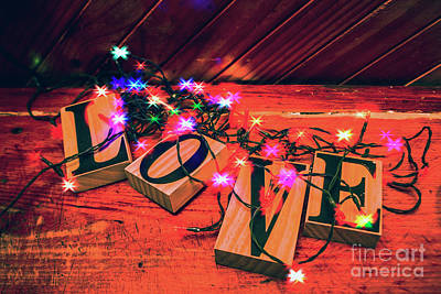 Words Background Photograph - Christmas Love Decoration by Jorgo Photography - Wall Art Gallery