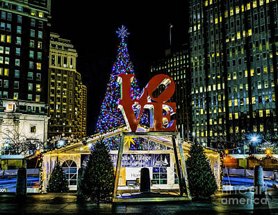 Photograph - Christmas - Love Park 2015 by Nick Zelinsky