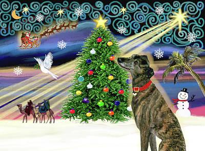 Dog Christmas Card Digital Art - Christmas Magic Brindle Greyhound by Jean Batzell Fitzgerald
