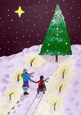 Wheelchair Painting - Christmas Magic by Sandy Wager