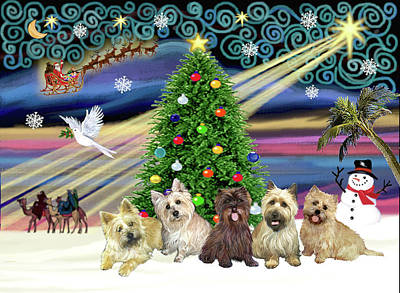 Painting - Christmas Magic With 5 Cairn Terriers by Jean Batzell Fitzgerald