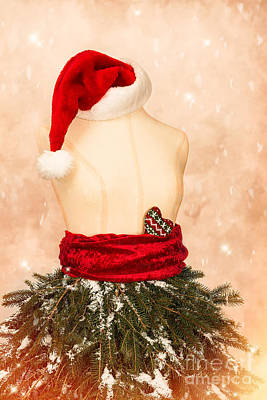 Christmas Mannequin With Santa Hat Art Print