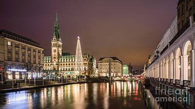 Photograph - Christmas Market At City Hall Hamburg by Daniel Heine
