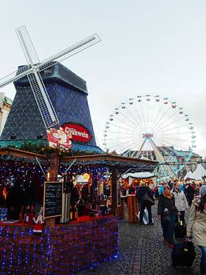 Photograph - Christmas Market Copenhagen With Windmill And Ferris Wheel by Dorothy Berry-Lound