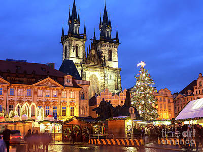 Photograph - Christmas Market In Old Town Square Prague by John Rizzuto