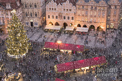 Christmas Market In Prague Art Print