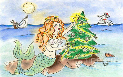 Drawing - Christmas Mermaid by Vonda Lawson-Rosa