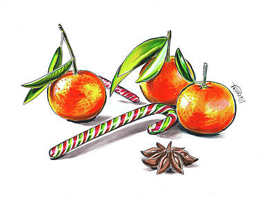 Tangerines Drawing - Christmas Mood by Viktoriya Lavtsevich