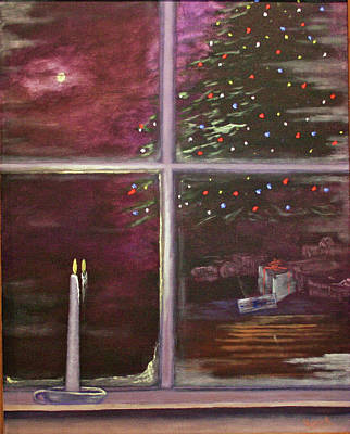 Painting - Christmas Moon by Catherine Link