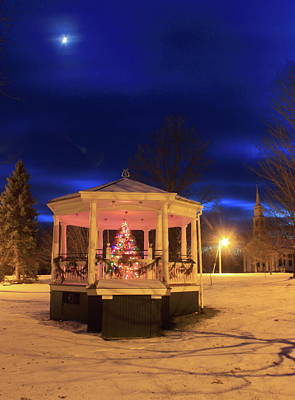 Photograph - Christmas Moon Over Town Common by John Burk