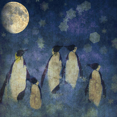 Penguin Digital Art - Christmas Moon  by Paul Lovering