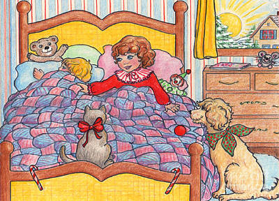 Drawing -  Christmas Morning by Dee Davis
