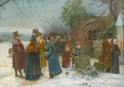 Christmas Morning  Neighbourly Greetings, And Doles To The Poor And Needy Art Print by Edward Frederick Brewtnall