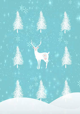 Christmas Dawn - White Stag Art Print