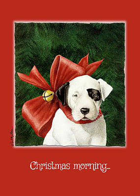 Dog Christmas Cards Wall Art - Painting - Christmas Morning... by Will Bullas