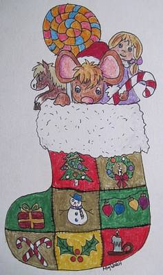 Drawing - Christmas Mouse by Megan Walsh