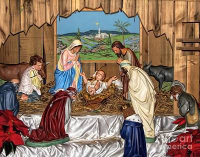 Photograph - Christmas Nativity Manger Creche Soft Effect by Rose Santuci-Sofranko