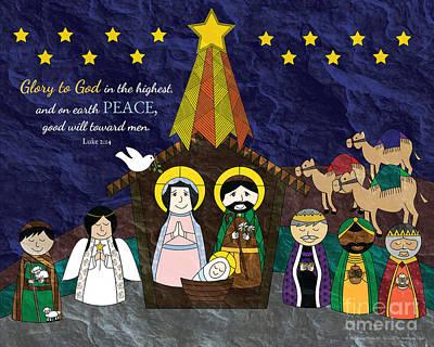 Manger Scene Digital Art - Christmas Nativity Scene by Antonina Chai