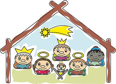 Manger Mixed Media -  - Mchristmas Nativity Scene Child'ys Drawing - My Www Vikinek-art.com by Viktor Lebeda