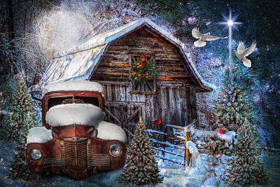 Photograph - Christmas Night At The Farm by Debra and Dave Vanderlaan