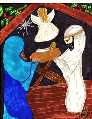 Manger Mixed Media - Christmas Night by Elinor Rakowski