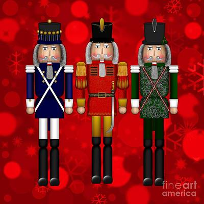 Digital Art - Christmas Nutcracker Trio by Margaret Newcomb