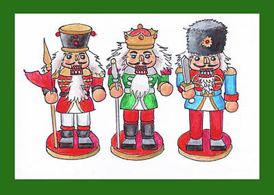 Mixed Media - Christmas Nutcrackers by Mary Helmreich