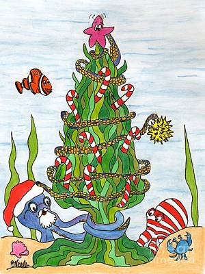 Clown Fish Drawing - Christmas Of The Sea Tree by Bev Veals