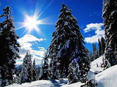 Snow Drifts Digital Art - Christmas On Mount Rainier by Ron Tackett