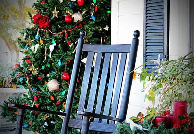 Christmas On The Porch Art Print by Cynthia Guinn