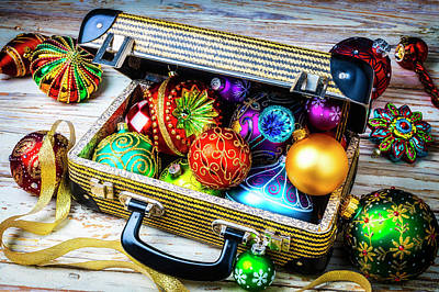 Photograph - Christmas Ornaments In Small Suitcase by Garry Gay
