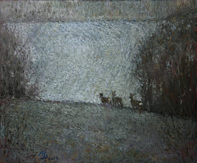 Painting - Christmas Painting With Roes by Attila Meszlenyi