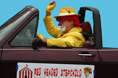 Photograph - Christmas Parade Clown In Car by EricaMaxine Price
