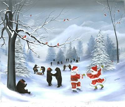 Painting - Christmas Party At Bear Hollow by RJ McNall