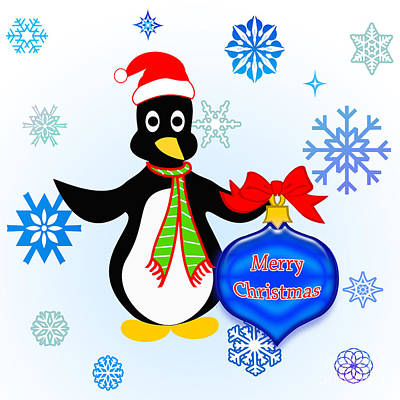 Digital Art - Christmas Penguin by Methune Hively