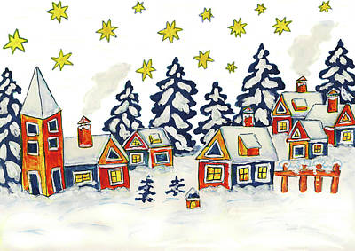 Painting - Christmas Picture In Blue And Yellow Colours by Irina Afonskaya