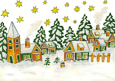 Painting - Christmas Picture In Green And Yellow Colours by Irina Afonskaya