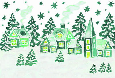 Painting - Christmas Picture In Green Colours by Irina Afonskaya