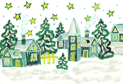 Christmas Picture In Green Art Print