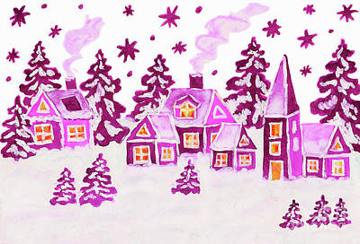 Christmas Picture In Pink Colours Art Print