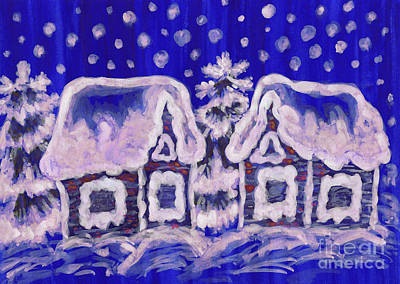 Painting - Christmas Picture On Blue Background by Irina Afonskaya