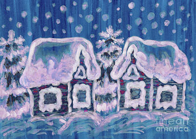 Painting - Christmas Picture Onblue by Irina Afonskaya