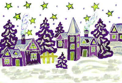 Painting - Christmas Picture Purple by Irina Afonskaya