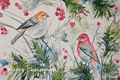 Painting - Christmas Pine Grosbeaks by Cascade Colors