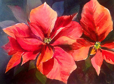 Painting - Christmas Poinsettia by J Worthington Watercolors