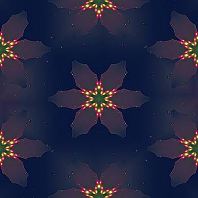 Digital Art - Christmas Poinsettia Lights by Ruth Moratz