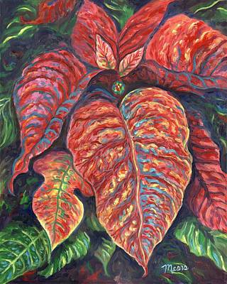Red Flower Painting - Christmas Poinsettia Two by Linda Mears